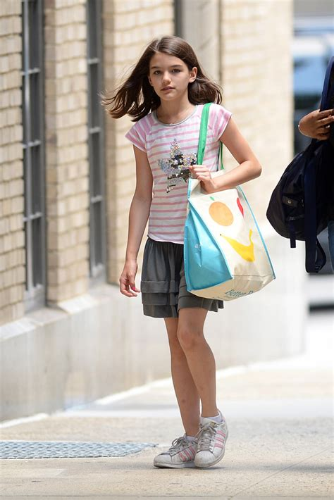 Suri Cruise in Pink Striped Adidas Superstar Sneakers in ...
