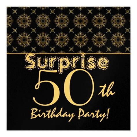 SURPRISE 50th Birthday Gold Black Vintage W1904 Card ...