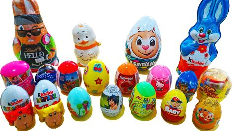 Surprise EGGS and BUNNIES   Kinder chocolate egg bunny ...