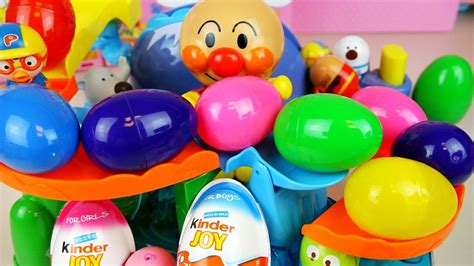 Surprise eggs Kinder Joy toys with Anpanman playset and ...