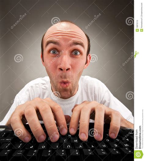 Surprised Funny Nerd Working On Computer Stock Image ...