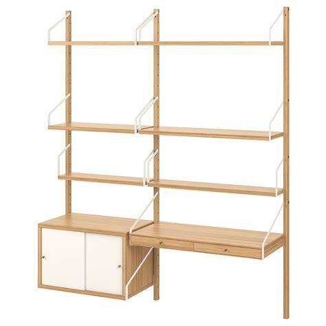 SVALNÄS Estanterías modulares, bambú, blanco, 150x35x176 ...