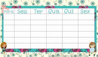 Tabelas Personalizadas para Horário de Aulas  Para ...
