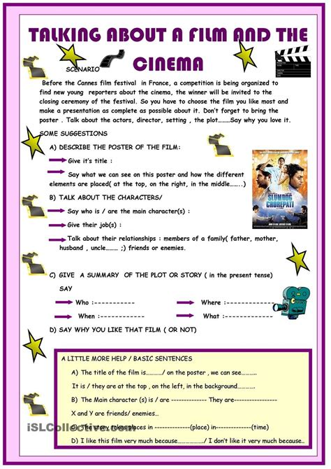 Talking about a film and the cinema   English worksheets ...