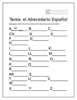 Tarea para El Abecedario Español  Homework for the Spanish ...