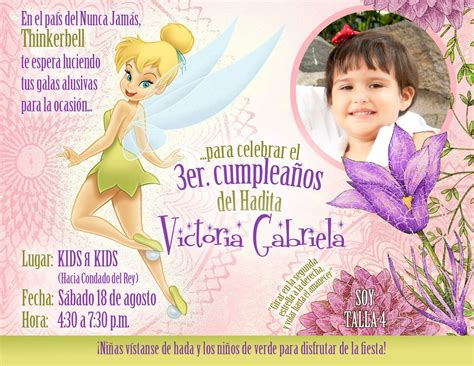 TARJETA INVITACION CUMPLEAÑOS HADAS | Tarjetas invitacion ...