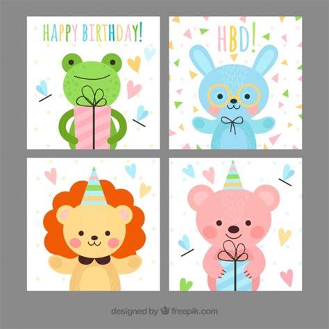 Tarjetas de cumpleaños infantiles con animales felices ...