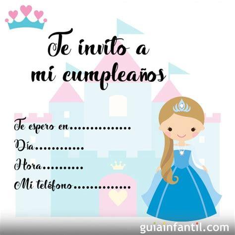 Tarjetas de invitación de cumpleaños infantiles con princesas