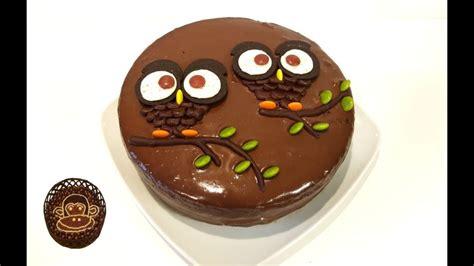 Tarta de chocolate decorada con búhos. Receta, paso a paso ...