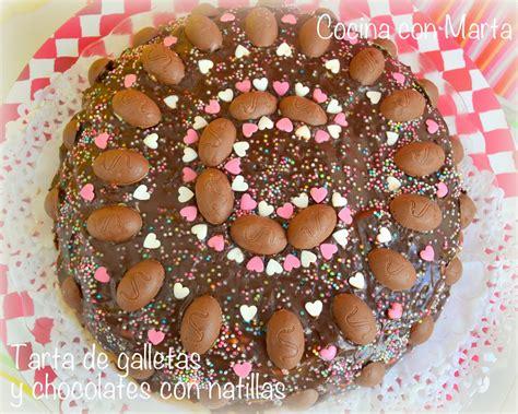 Tarta de galletas y chocolate  con natillas ...