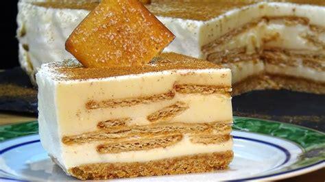 Tarta de leche merengada con galletas de canela, fácil y ...