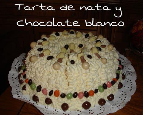 Tarta de nata y chocolate.   Tartas, Receta casera
