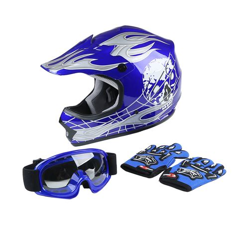 TCMT DOT Helmet for Kids & Youth Blue Flame Skull with ...