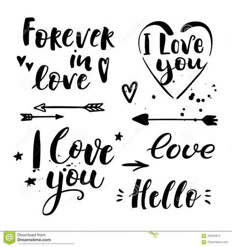 Te Amo Hola Para Siempre En Amor Letras Dibujadas Mano ...