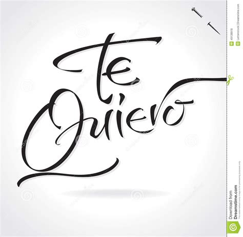 TE QUIERO Hand Lettering  vector  Stock Vector   Image ...