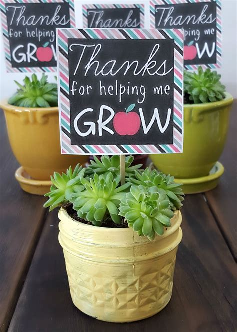 Teacher Appreciation Thanks For Helping Me Grow Printable ...