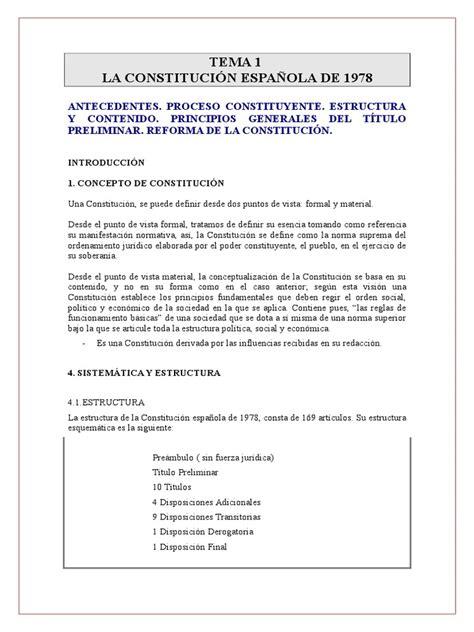 Tema 1 La Constitución Española De 1978 | Constitución ...