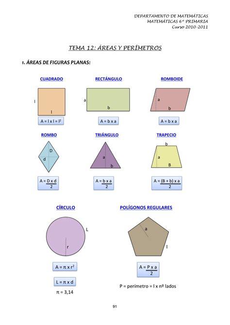 Tema 12: Áreas y perímetro   Matemáticas 6º PRIMARIA