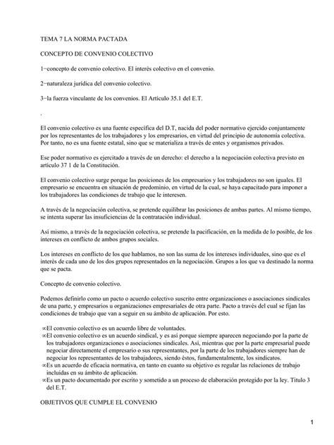 TEMA 7 LA NORMA PACTADA CONCEPTO DE CONVENIO COLECTIVO