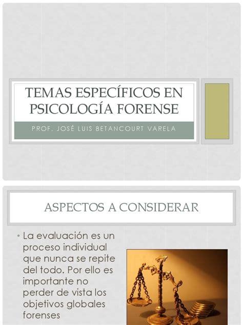 Temas Especificos en Psicologia Forense | Adultos ...