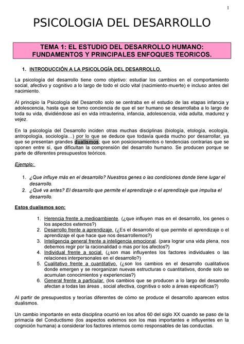 Temas Psicologia del Desarrollo PSICOLOGIA DEL DESARROLLO ...