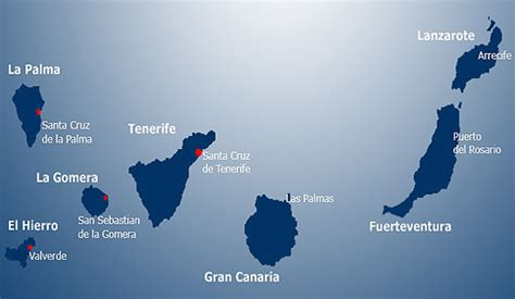 Tenerife, Map of the Canary Islands, Lanzarote ...
