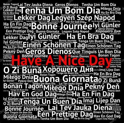Tenha um bom dia em diferentes idiomas — Fotografias de ...