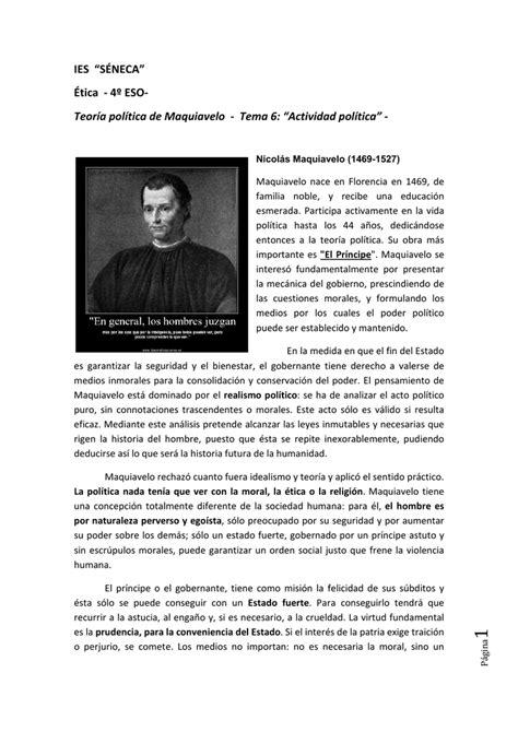 """Teoría política de Maquiavelo   Tema 6: """"Actividad"""