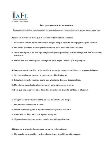 test de autoestima.pdf | Ocio