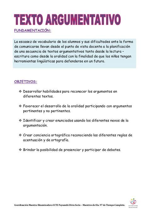Texto argumentativo Escuela N° 97