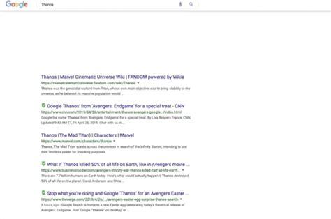 Thanos cómo activar easter egg en búsqueda de Google ...