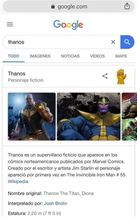 Thanos, el villano de Avengers, llegó al buscador de ...