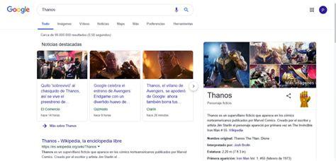 Thanos hace de las suyas en el buscador de Google y ...