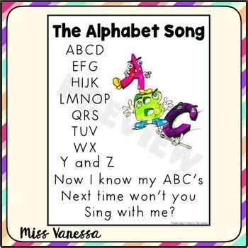 The Alphabet Song Printable Lyrics by Miss Vanessa | TpT