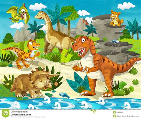 The Dinosaur Land   Illustration For The Children Stock ...