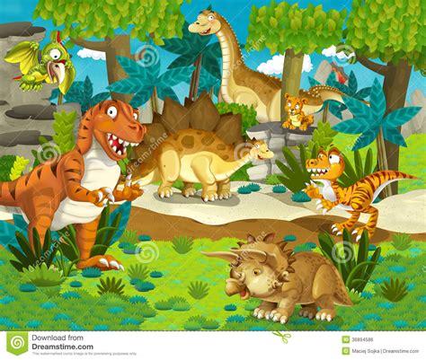 The Dinosaur Land   Illustration For The Children Stock ...