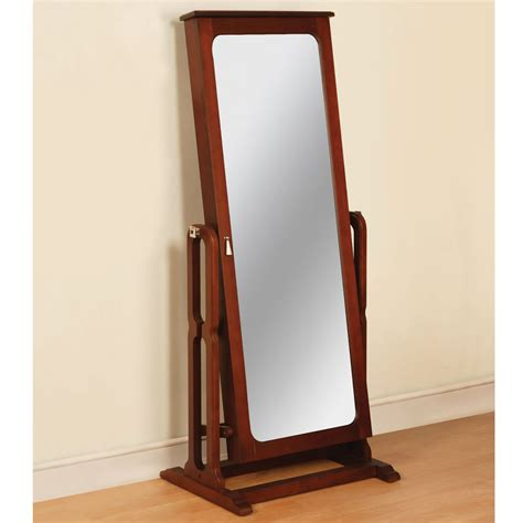 The Free Standing Mirrored Jewelry Armoire   Hammacher ...