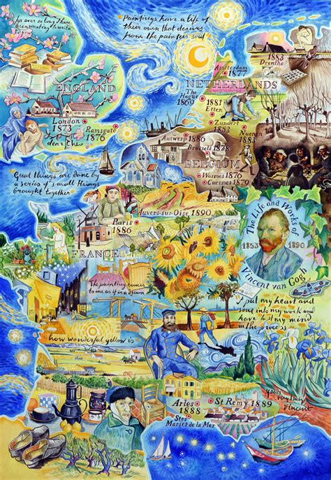 The life and works of Vincent van Gogh   a painted map