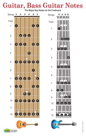 The Notes On The Guitar Fretboard   Easy Guitar Chords for ...