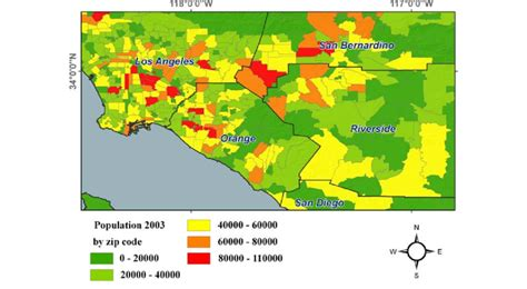 The spatial distribution of population density in the Los ...