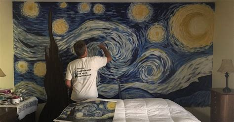 This Dad Painted  Starry Night  On His Bedroom Wall And It ...