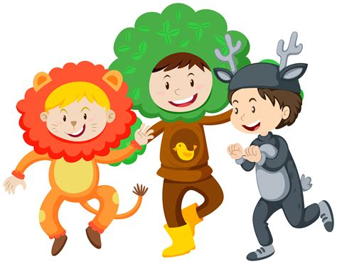 Three kids in costumes   Download Free Vectors, Clipart ...