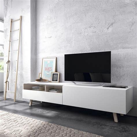 Time mueble tv blanco y patas en madera de haya   Muebles ...