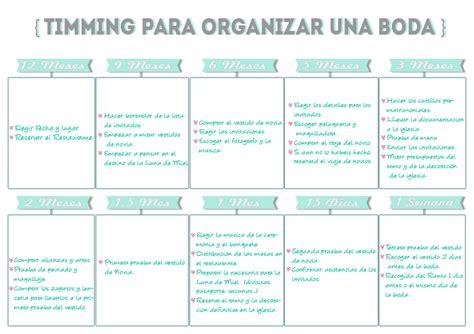 Timming para organizar bodas Imprimible   Organizar boda ...