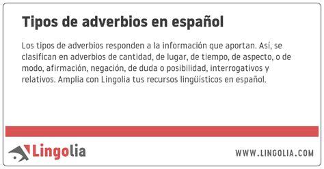 Tipos de adverbios en español