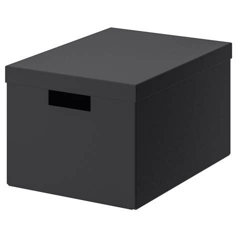 TJENA Storage box with lid   black   IKEA