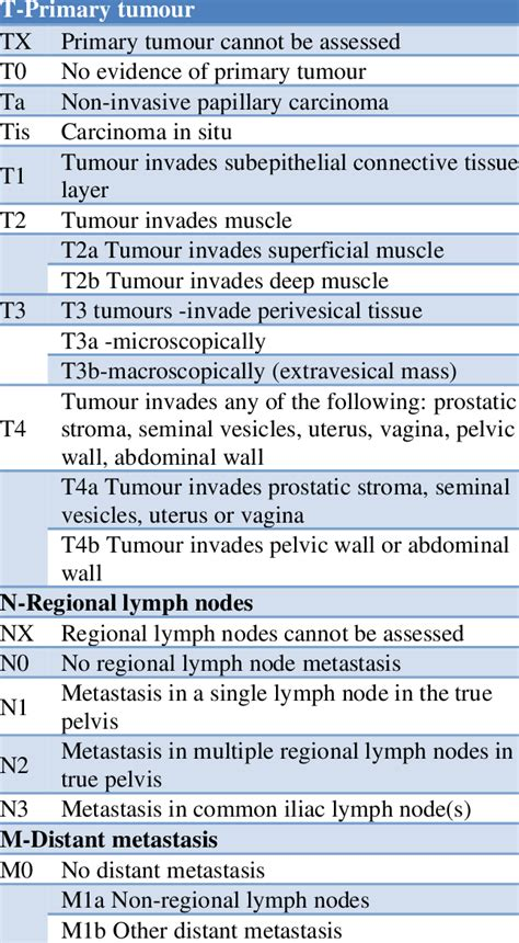 TNM classification of urinary bladder cancer. | Download ...