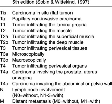 TNM stage classification of bladder cancer. | Download Table