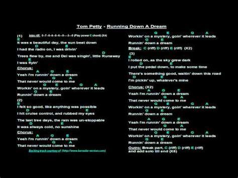 Tom Petty   Runnin Down A Dream  Backing track, lyrics ...