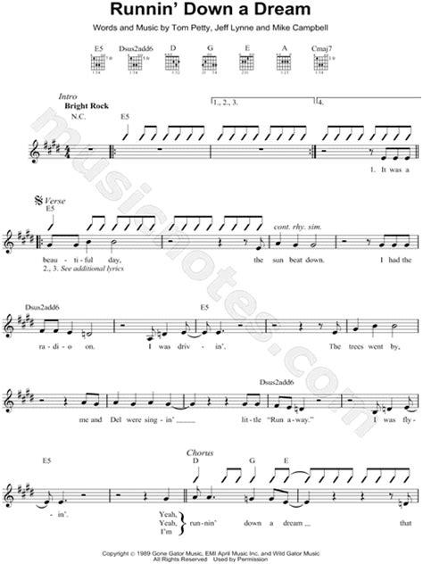 Tom Petty  Runnin  Down a Dream  Sheet Music  Leadsheet ...